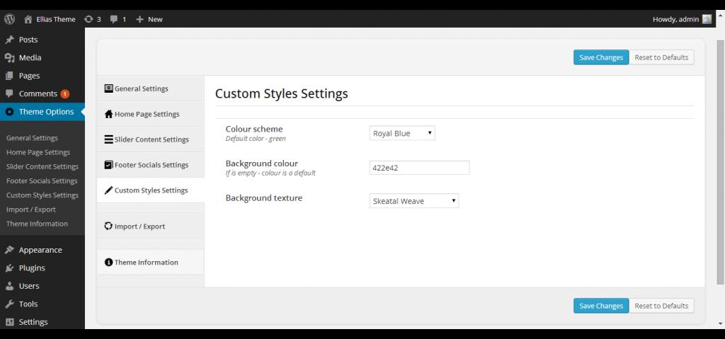 Basic Theme Options ‹ Ellias Theme — WordPress