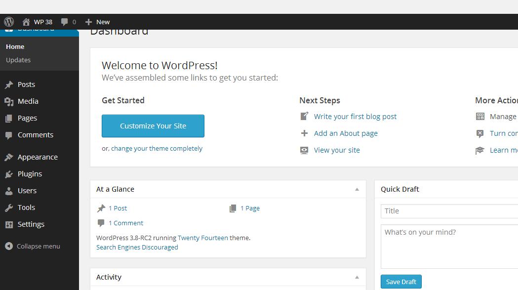 Dashboard ‹ WP 38 — WordPress