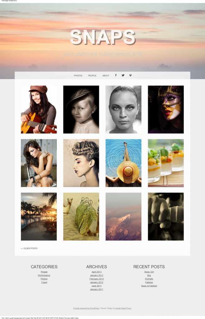 Snaps Just another Theme demos site
