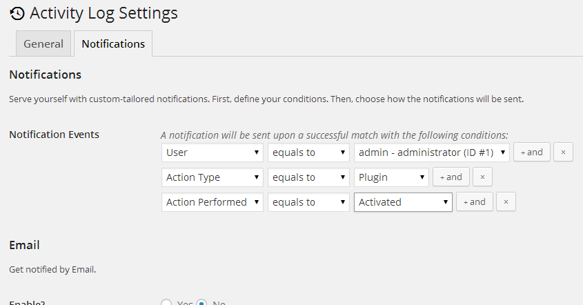 Activity Log Settings ‹ Child themes – WordPress (1)