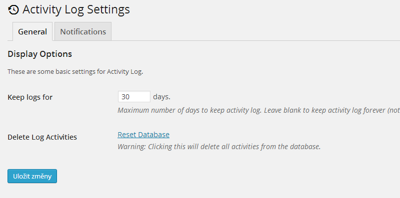 Activity Log Settings ‹ Child themes – WordPress