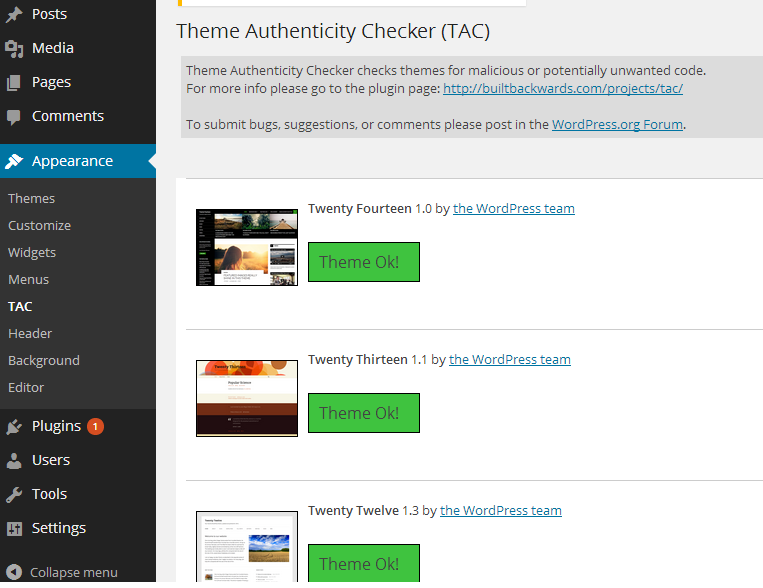 Theme Authenticity Checker TAC ‹ Security — WordPress
