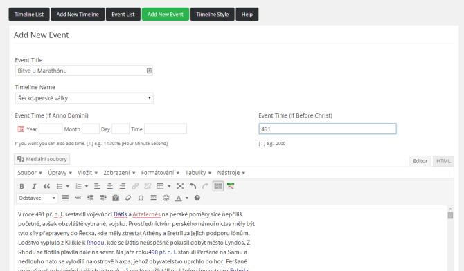 Viavi WordPress Timeline ‹ WordPress test – WordPress (1)