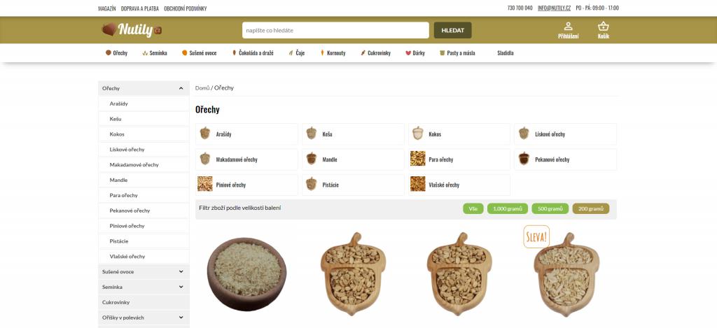 Výpis produktů v e-shopu Nutily.cz, postaveném na WooCommerce.