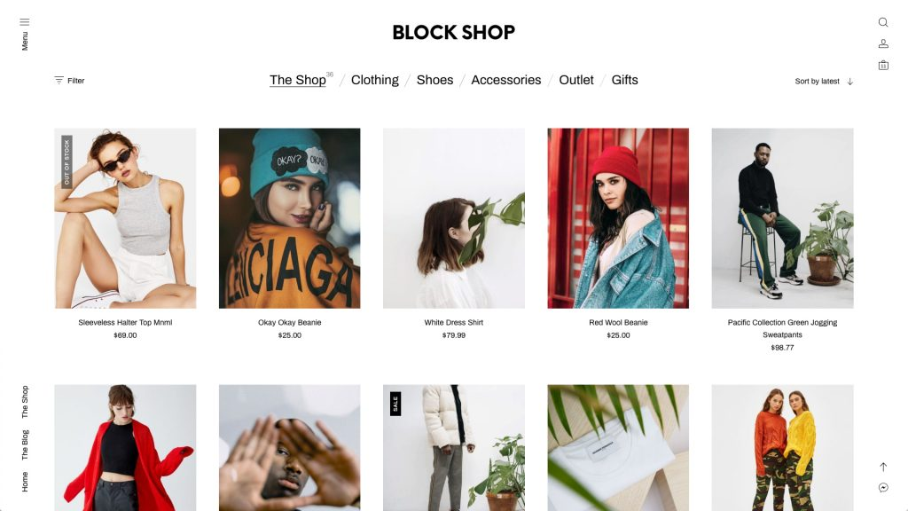 Hlavní strana e-shopu, postaveného na WooCommerce